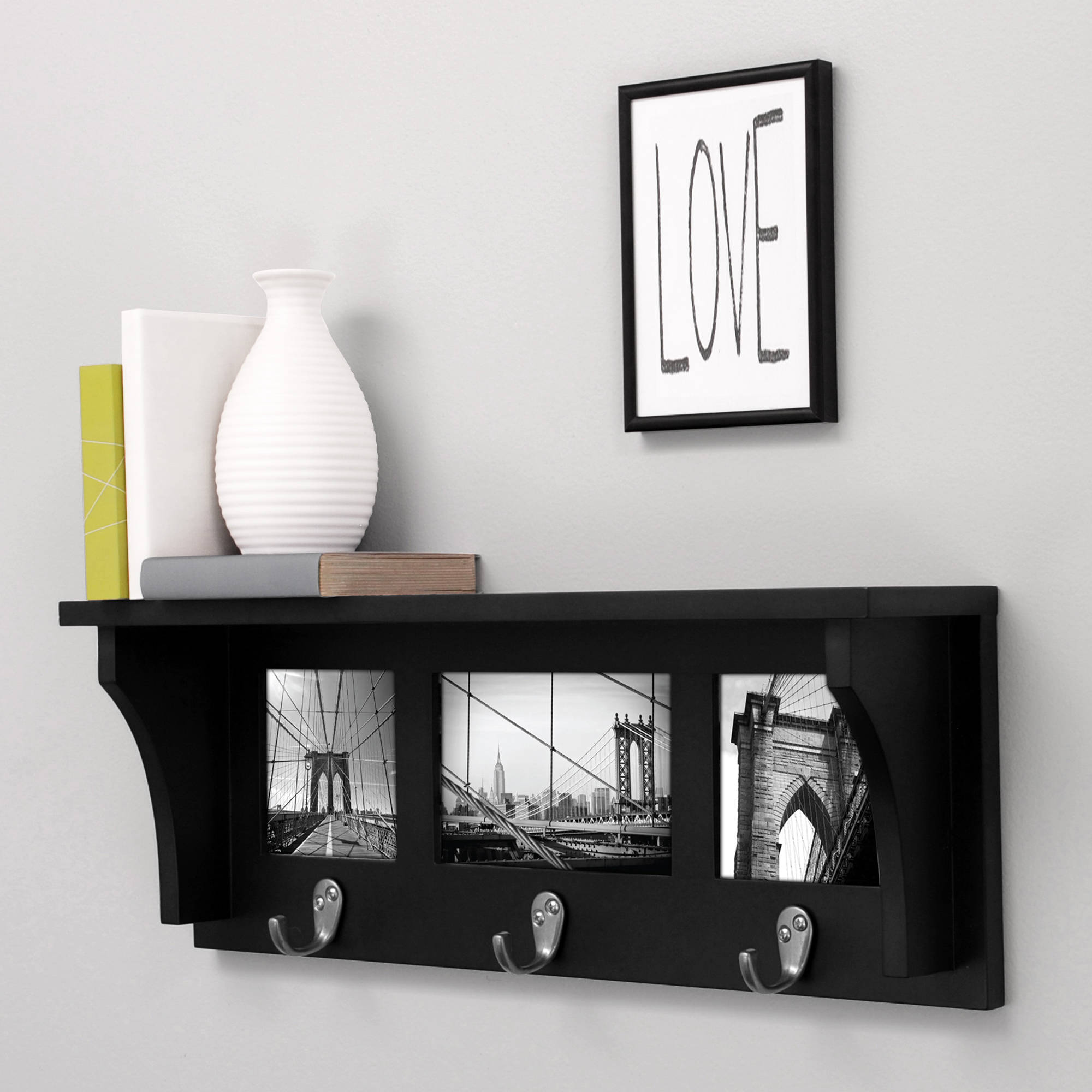 Kiera Grace Riley 18 Wall Shelf And Picture Collage With 3 Metal