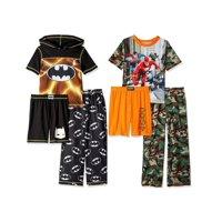 DC Comics Boy's Pajama Sets, Batman Justice League, 6-Piece Black/Camo Set, Size: 10