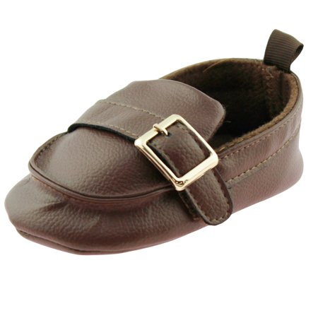 - First Steps Baby Boys Slip On Loafers Newborn Dress Shoes with Buckle Brown Size 3