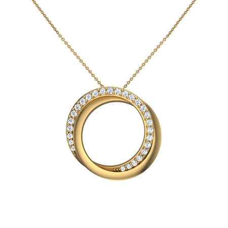 14K Yellow Gold Necklace 0.61 ct tw Diamond Pendant Intertwined Circles Without Chain (I,I1) Popular Quality 1/2 Ct Diamond Circle Pendant