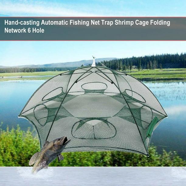 6 Hole Nylon Mesh Fishing Net Trap Minnow Fish Cage Bait Hand-Cast Net Foldable