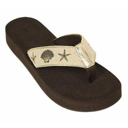 Tidewater Womens Ingleside Thong Sandal  Brown Size 10
