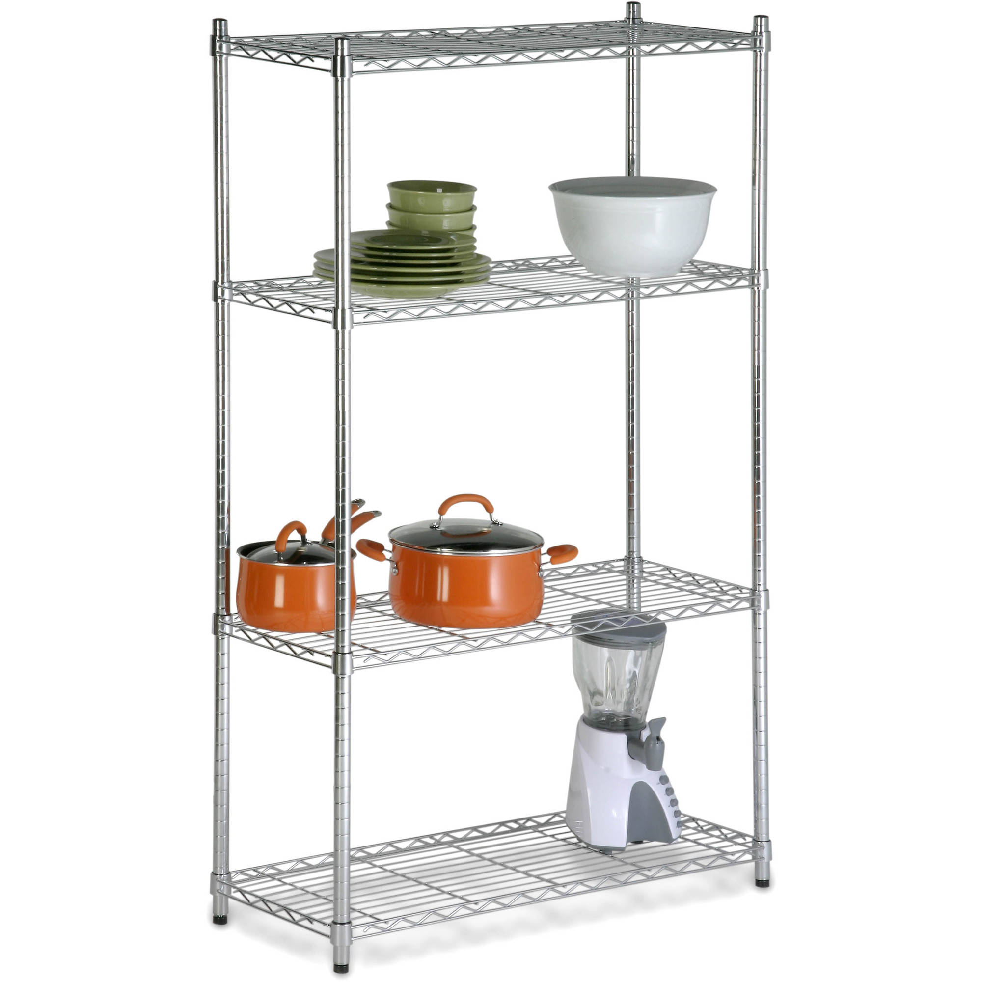Honey Can Do Urban 4-Tier Adjustable Storage Rack, Chrome