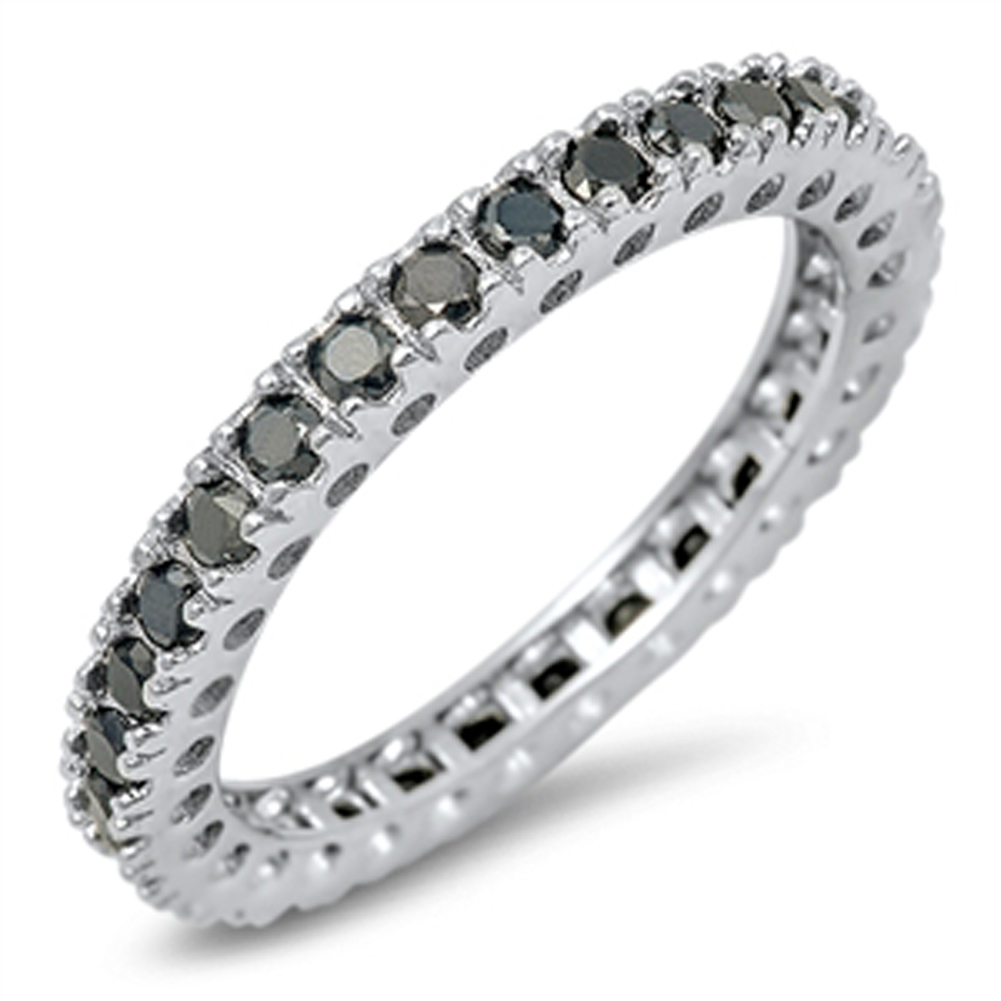 eternity stackable black simulated cz promise ring sizes