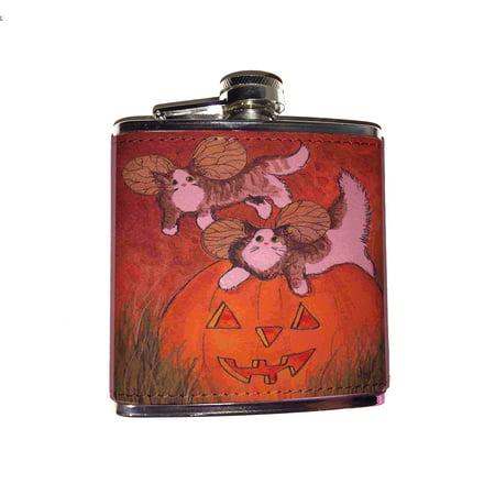 Flask Mob Halloween (KuzmarK Pink Leather Flask - Tiny Tabby Maine Coon Kitty Fairies with Jack O'Lantern Halloween Cat Art by Denise)