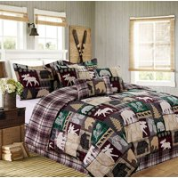 Cabin Country Hunting Lake House Reversible Queen Comforter Set (7 Piece Bed in A Bag)