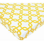 TL Care Cotton Percale Fitted Mini Crib Sheet, Golden Yellow Twill Gotcha