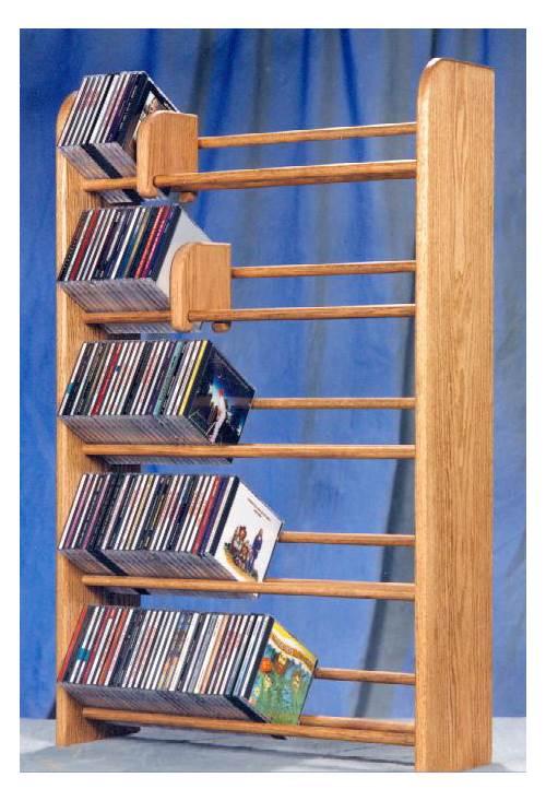 5 Row Dowel CD Rack (Honey Oak) by Wood Shed