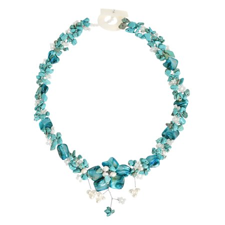 Beautiful in Blue Turquoise, Beads, & Shell Floral Inspired Statement Necklace
