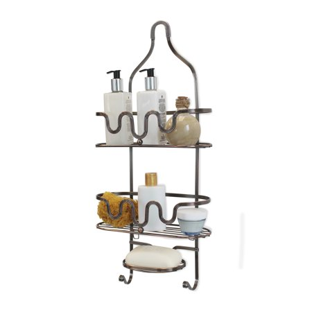 Basket Bathroom Shelf (Splash Home Setup Shower Caddy Bathroom Hanging Head Two Basket Organizers Plus Dish for Storage Shelves for Shampoo, Conditioner and Soap - Oil Rubbed Bronze )