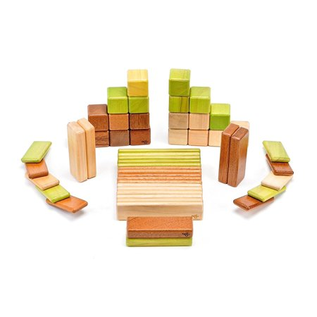 52 Piece Tegu Original Magnetic Wooden Block Set, Jungle ()