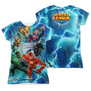 Jla - Lightning Team (Front/Back Print) - Juniors Cap Sleeve Shirt - Small