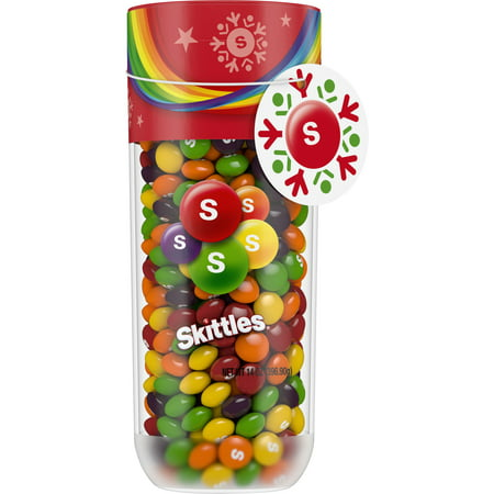 SKITTLES Holiday Fruity Candy Jar, 14 Ounce