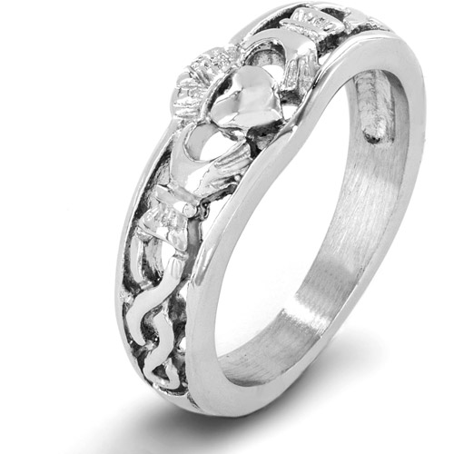 Stainless Steel Celtic Knot Claddagh Ring