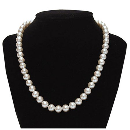8mm Genuine White Pearl Necklace - Genuine 8.5-9mm White Freshwater Cultured Round Pe