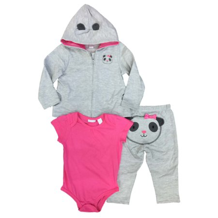 Infant Girls 3 Piece Panda Bear Outfit Gray & Pink Hoodie Sweatpants & Bodysuit (Panda Onsie)