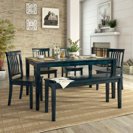 Prime Lexington 6 Piece Dining Set With 60 Dining Table Bench And 4 Mission Back Chairs Antique Denim Ibusinesslaw Wood Chair Design Ideas Ibusinesslaworg