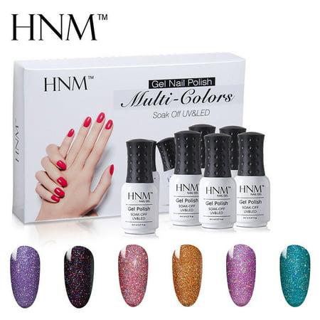 HNM 8ML Nail Gel Polish Multi-Colors Manicure UV LED Soak Off 6 Colors Set Gift Box Starter Kits-Neon Color Series - Gel Manicure Halloween