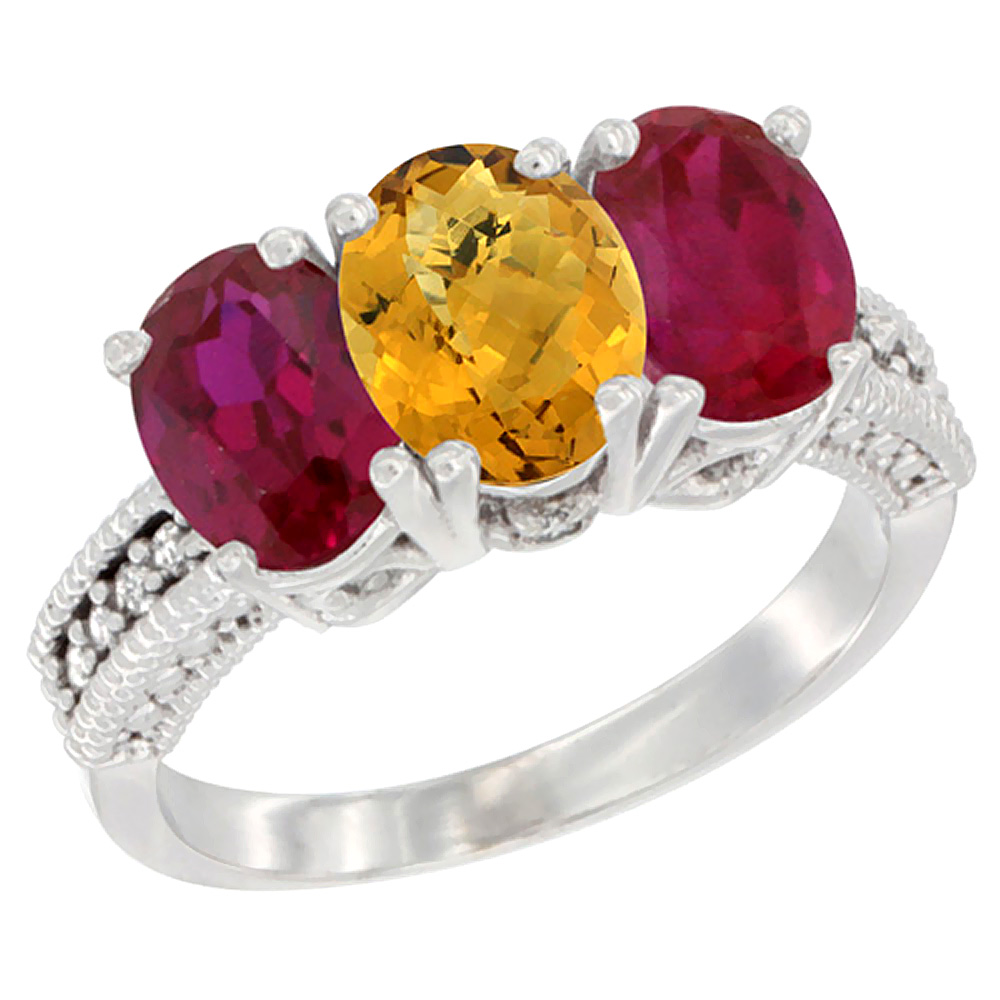 14K White Gold Natural Whisky Quartz & Enhanced Ruby Sides Ring 3-Stone 7x5 mm Oval Diamond Accent, sizes 5 10 by WorldJewels