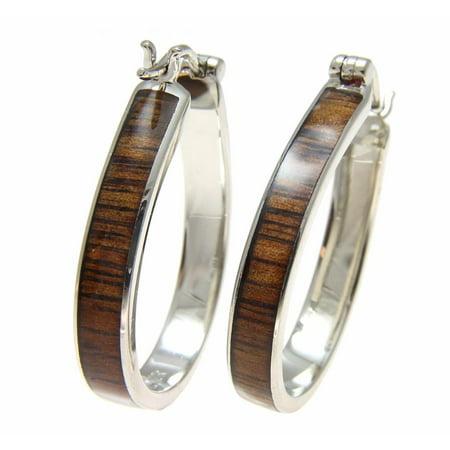 Koa Wood Hawaiian Rhodium Plated Brass 25x33mm Oval Hoop Snap Closure Earrings