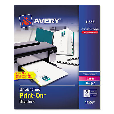 Avery Customizable Print-On Dividers 8-Tab Letter 5 Sets ...