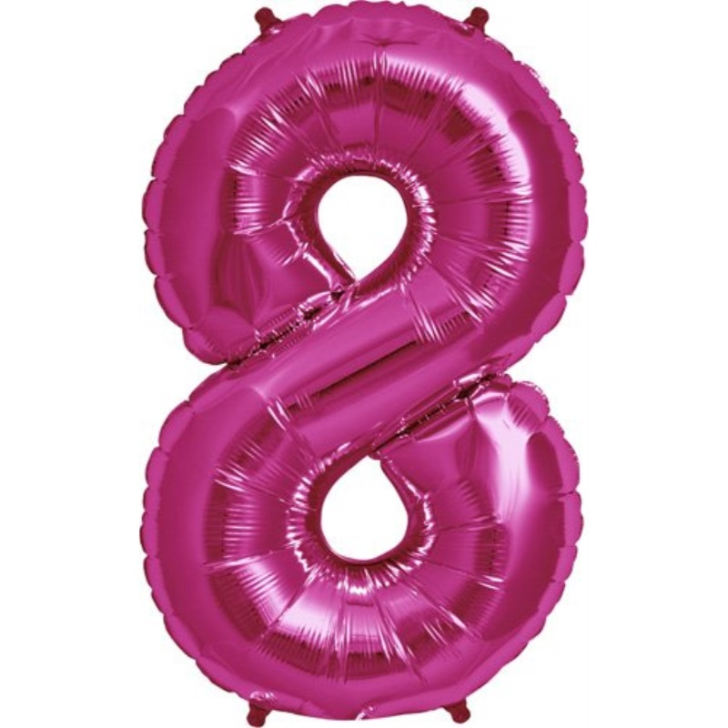 """Northstar Foil Balloon 00142 Number 8-Magenta, 34"""", Pink"""