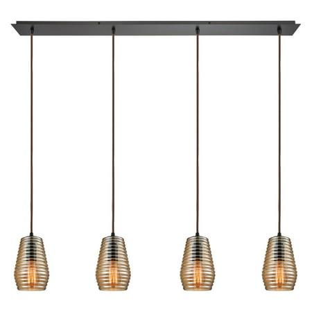 Elk Lighting Ribbed Glass 1052 4 Light Linear Pendant