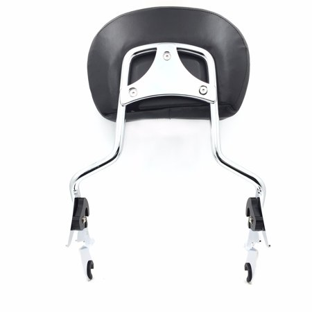 HTT adjustable Chrome Backrest Sissy Bar w/ Leather pad w/ Flat Mounting Plate For ALL YEAR Harley Davidson Touring FLHR- Road King FLHX- Street Glide (NEED DOCKING,SOLD SEPARATELY) ()