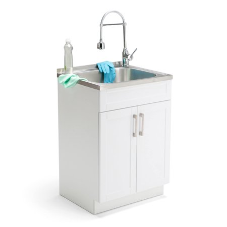Royal Storage Cabinet Sink (WyndenHall  Hartland 24-inch Laundry Cabinet with Faucet and Stainless Steel)