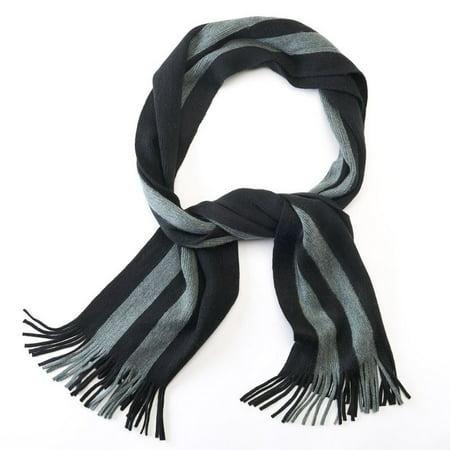 Izod Men Side Striped Grey Black Knit Oblong Scarf W Fringe One (Oblong Face Men)