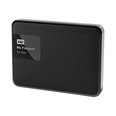WD My Passport for Mac WDBJBS0010BSL - Hard drive - encrypted - 1 TB - external (portable) - USB 3.0 - RoHS 2002/95/EC - 256-bit AES - black/silver ()