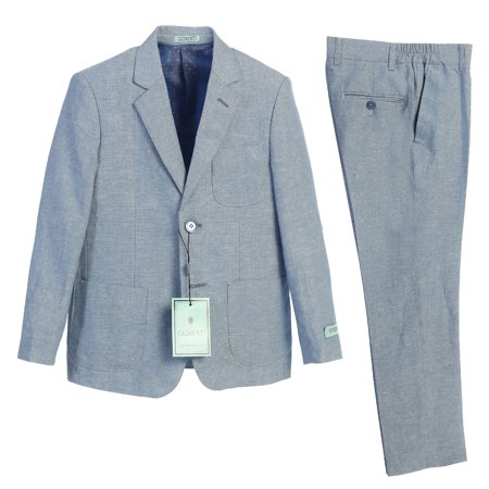 Gioberti Boy's Linen Jacket and Dress Pants Suit Set, Size
