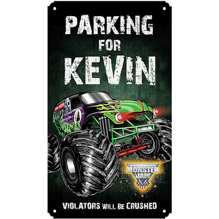 Personalized Monster Jam Violators Will Be Crushed Tin Room Sign