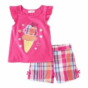 Kids Headquarters Infant Girls Plaid 2 Piece Top Short Set Ice Cream Outfit