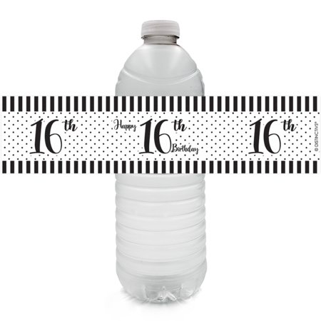 16th Birthday Water Bottle Labels, 24ct - Sweet 16 Black and White Stripe and Polka Dot Birthday Party Supplies - 24 Count Stickers