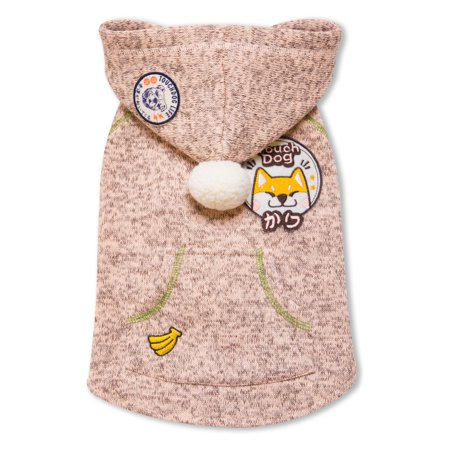 Touchdog Hippie Designer Sleeveless Pompom Dog Hooded Sweater