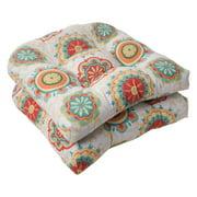 Pillow Perfect Farrington Aqua Wicker Chair Seat Cushion - Set of 2
