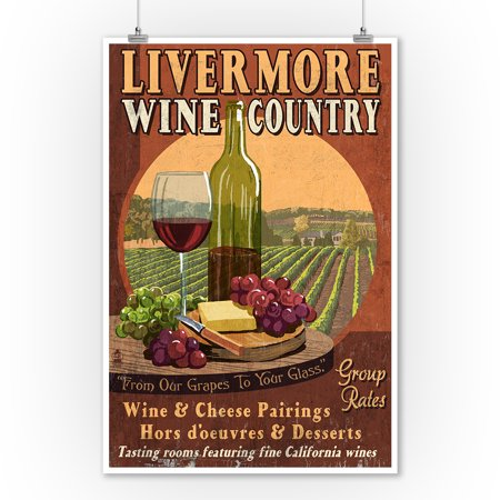 - Livermore, California - Wine Vintage Sign - Lantern Press Artwork (9x12 Art Print, Wall Decor Travel Poster)