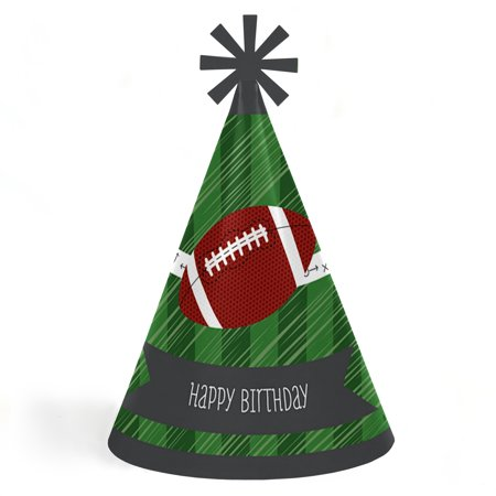 End Zone - Football - Cone Happy Birthday Party Hats for Kids and Adults - Set of 8 (Standard Size) - Cone Hats