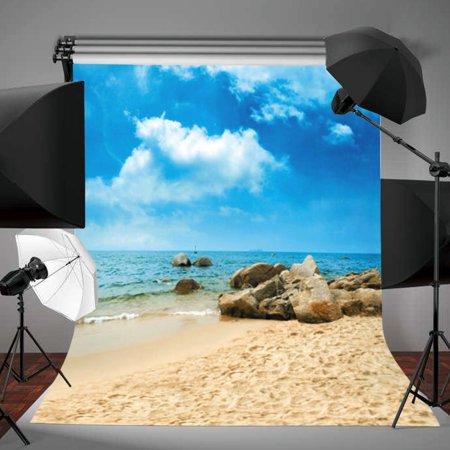 3x5FT Photography Photo Background Vinyl Fabric Blue Sky Beach Backdrop Studio Props