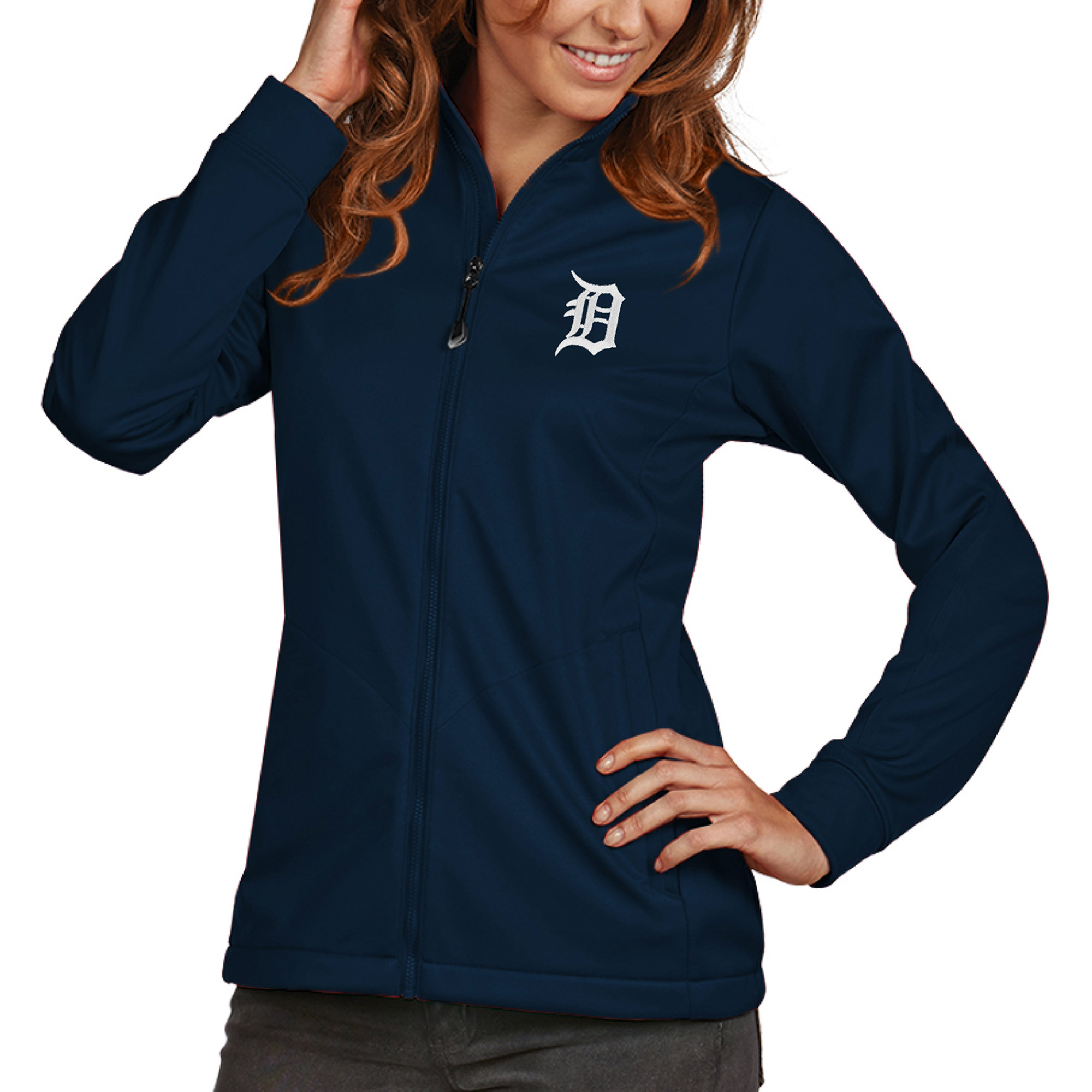 Detroit Tigers Antigua Women's Golf Full-Zip Jacket - Navy