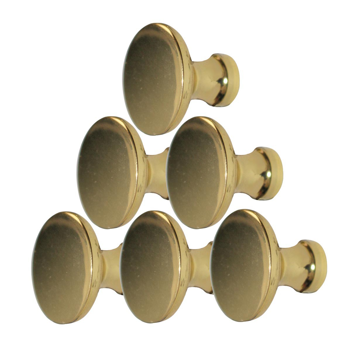 "6 Cabinet Knob Bright Solid Brass Traditional 1"" Dia 