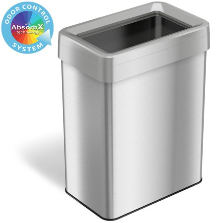 iTouchless 18 Gallon Commercial Grade Stainless Steel Dual-Deodorizer Open Top Rectangular Trash Can Gallon Commercial Trash Can