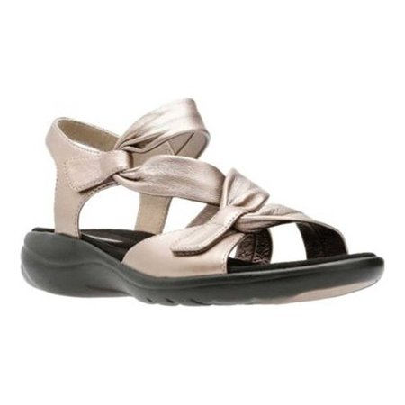 Women's Clarks Saylie Moon Strappy Sandal Pewter Metallic Dress Sandal