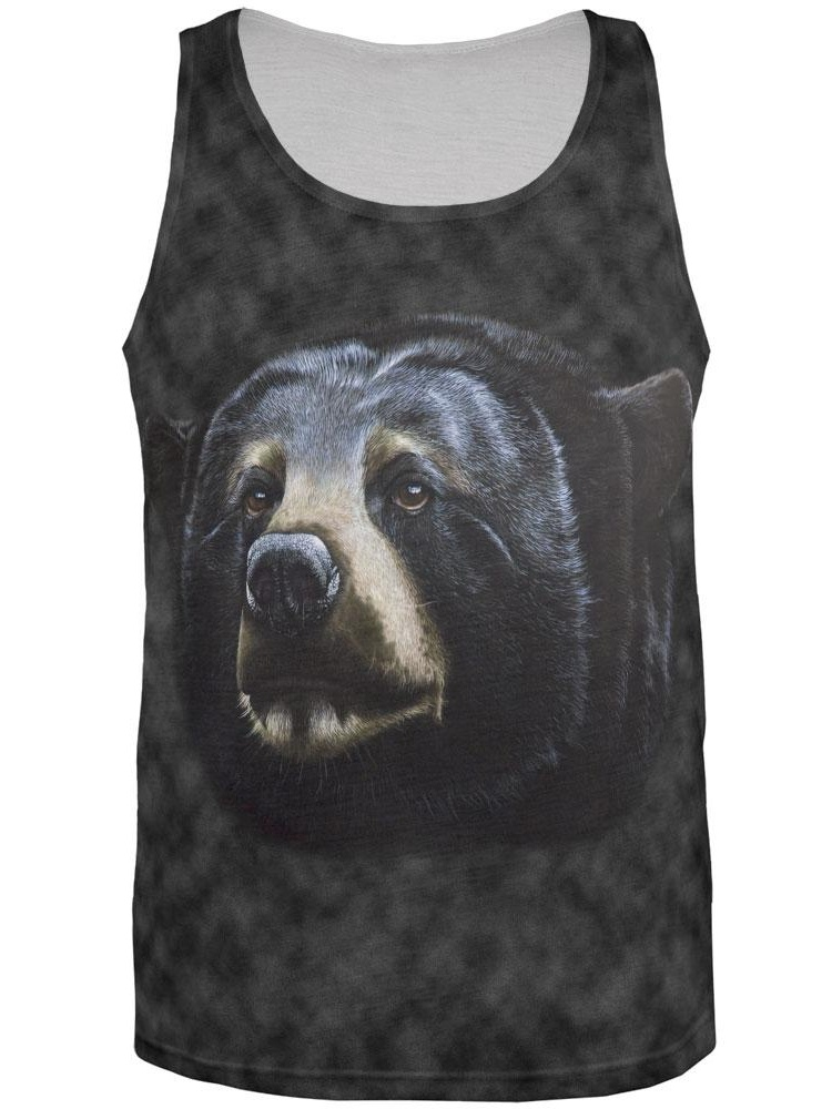 Black Bear Face All Over Adult Tank Top