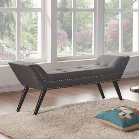 Marvelous Armen Living Porter Ottoman Bench With Fabric Nailhead Trim And Espresso Wood Legs Theyellowbook Wood Chair Design Ideas Theyellowbookinfo