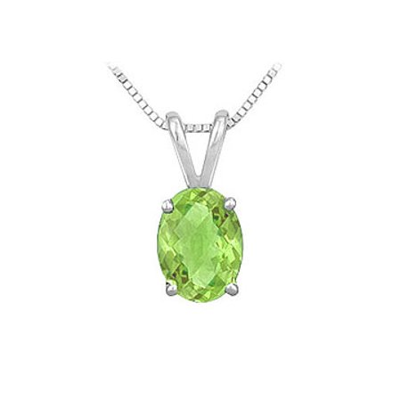 Peridot Solitaire Pendant in Rhodium Treated 925 Sterling Silver 2.00 CT TGW Jewelry - image 2 de 2