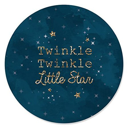 Twinkle Little Star - Baby Shower or Birthday Party Circle Sticker Labels - 24 Count - Star Stickers