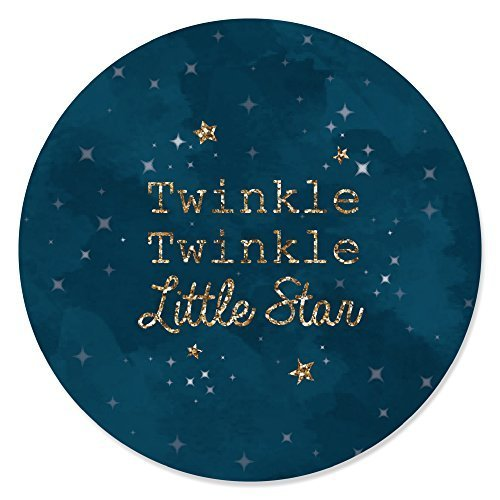 Twinkle Little Star - Baby Shower or Birthday Party Circle Sticker Labels - 24 Count