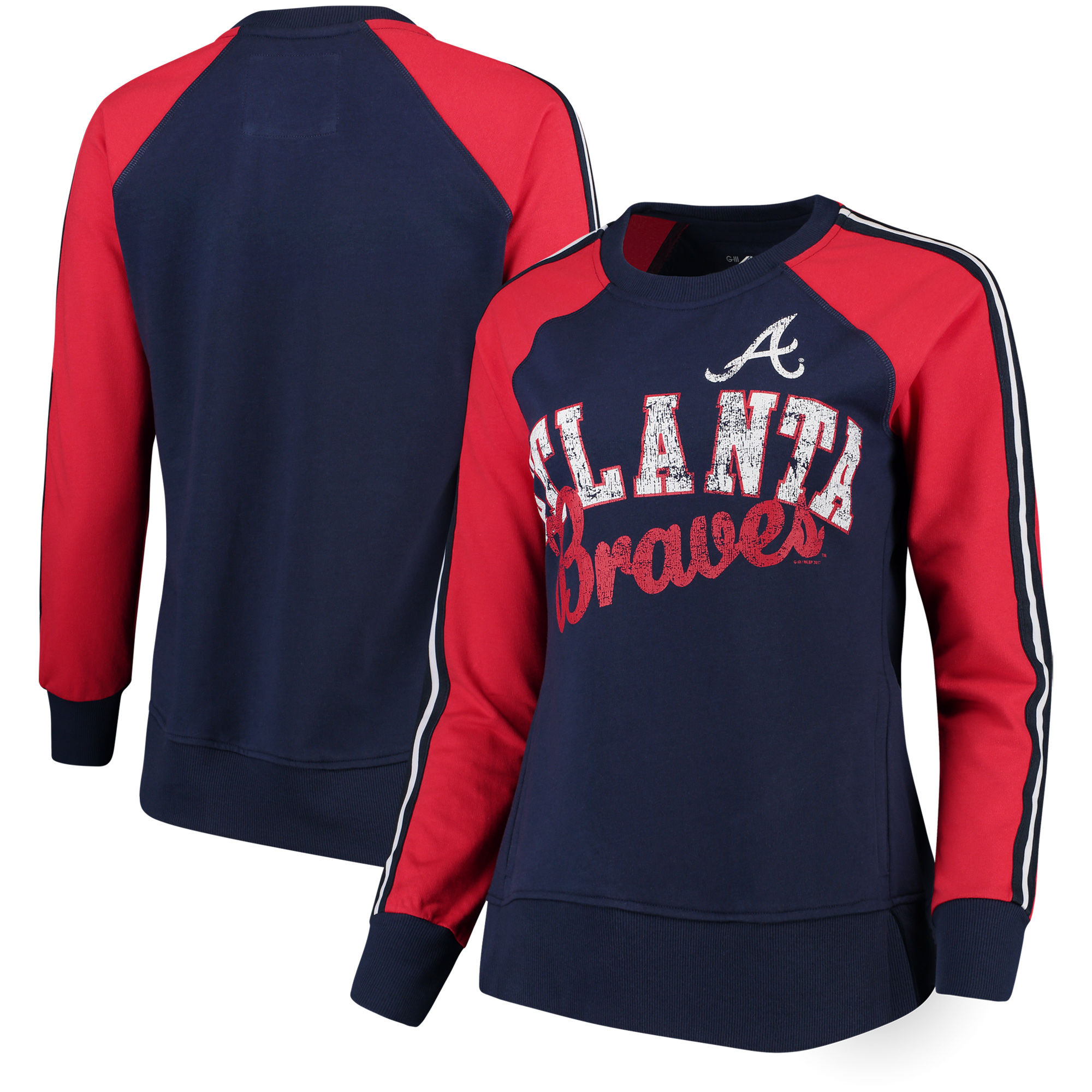 Atlanta Braves G-III 4Her by Carl Banks Women's Perfect Pitch Pullover Sweatshirt - Navy/Red